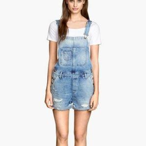 H&M Denim Shorts Bib Overalls Distressed